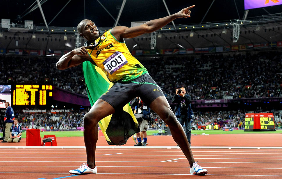 LONDON, ENGLAND AUGUST 5, 2012-Jamaica's Usain Bolt strikes a pose after winning the gold medal in the 100 meters at the 2012 London Olympics on Sunday. (Wally Skalij/Los Angeles Times)